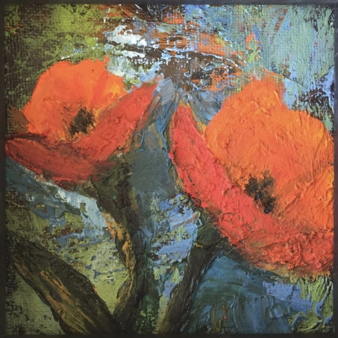 Painted Orange Poppies