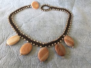 Red Jasper Stone Drops, Weaved Necklace