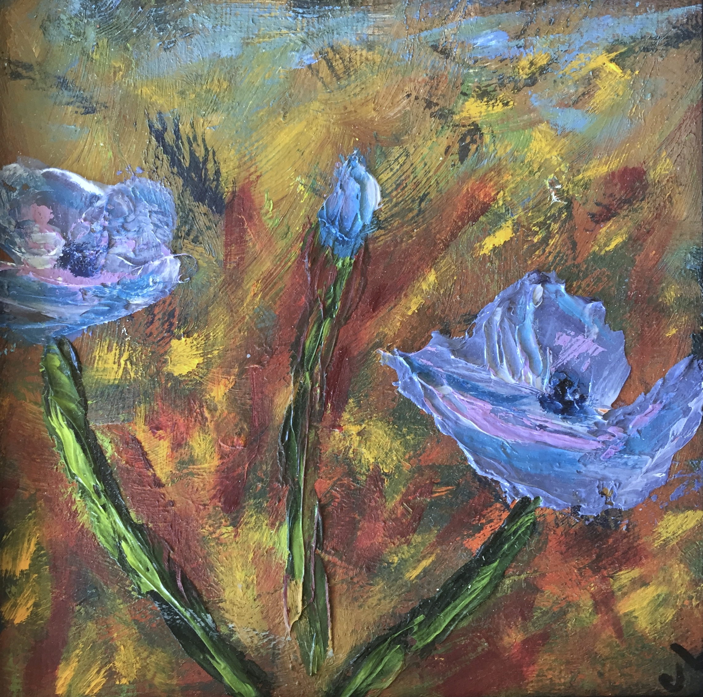 painting of blue poppies