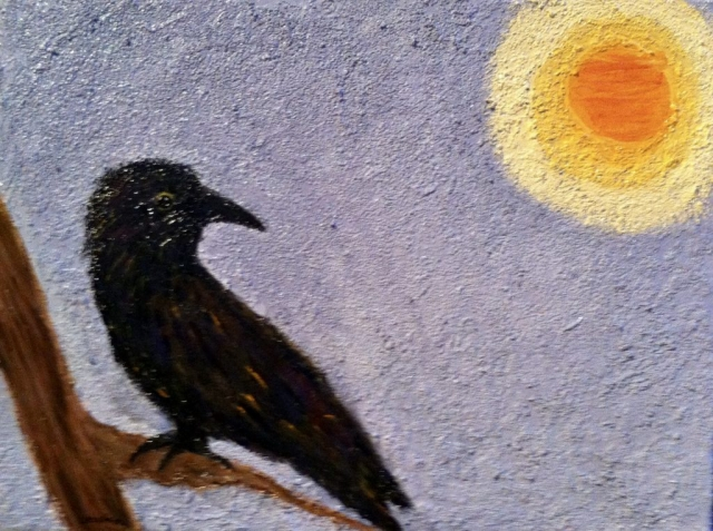 Crow in sun painting