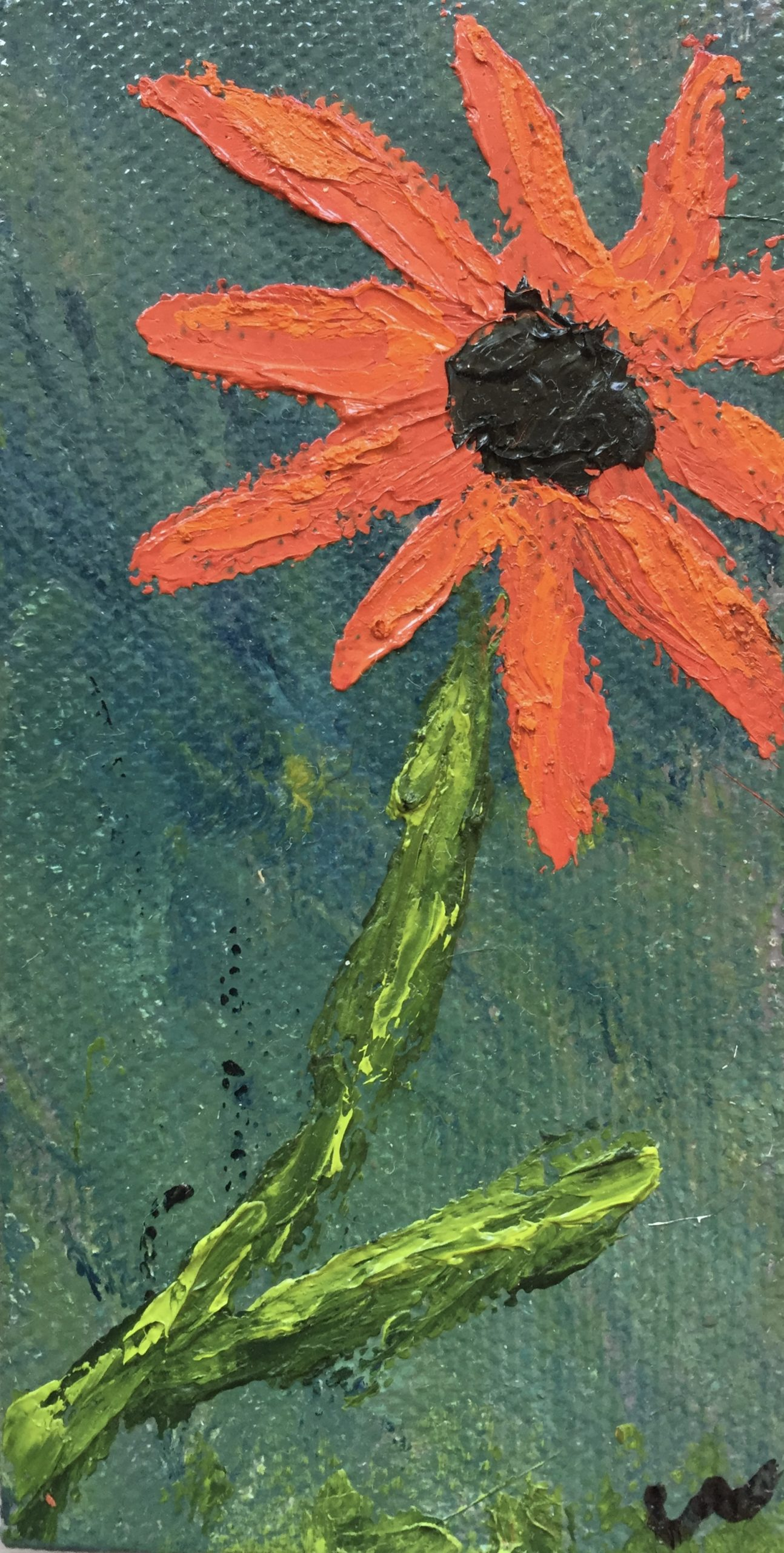 Small red Daisy Painting