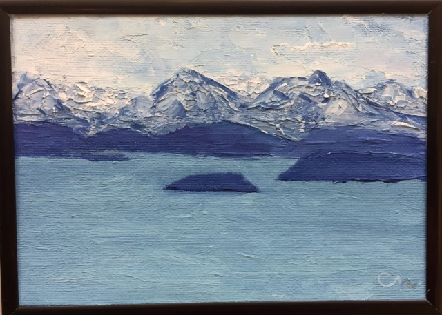 6x8 painting of Kachemak Bay