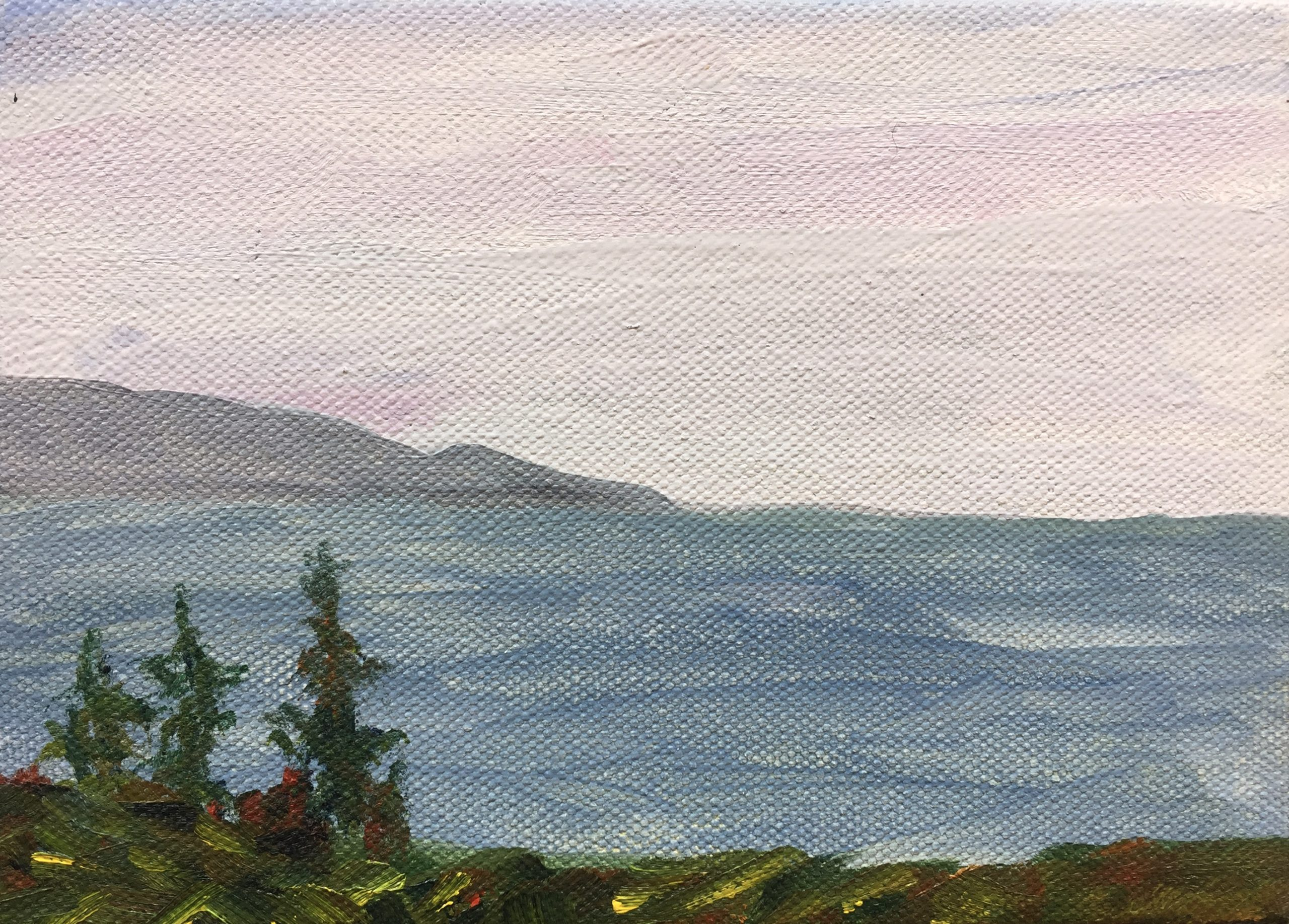 5x7 painting of Kachemak Bay fall colors