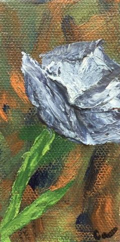 small Blue purple Poppy painting