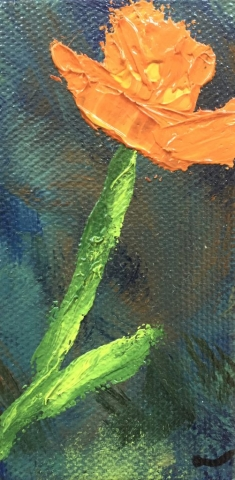 small orange Poppy painting
