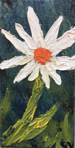 Miniature white Daisy painting