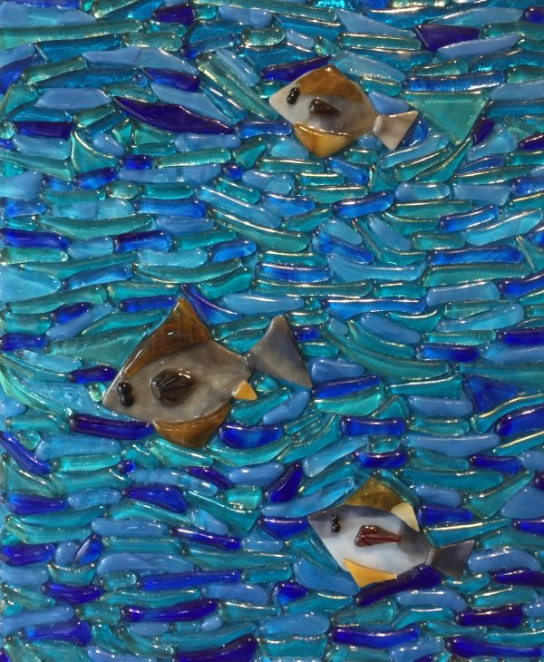 Fused glass Mosaic of Happy Halibuts