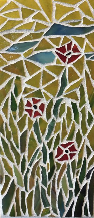 Poppies Glass Mosaic in Mustard Sunlight