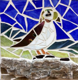 Puffin on Driftwood Glass Mosaic