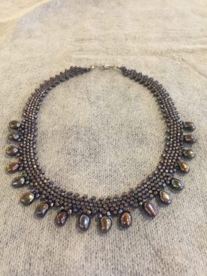 Purple Pearl Drop Weave Necklace