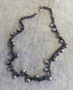 Metallic Purple Pearls, Tri-Weave Necklace