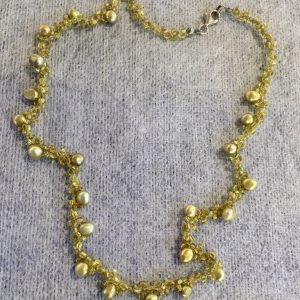 Golden Pearls Tri Weave Necklace