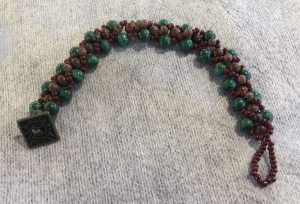 Mahogany Obsidian and Malachite Weave Bracelet