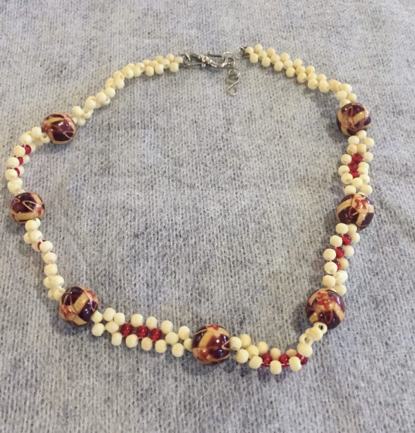 Painted Wood Beads Weave Choker/Necklace
