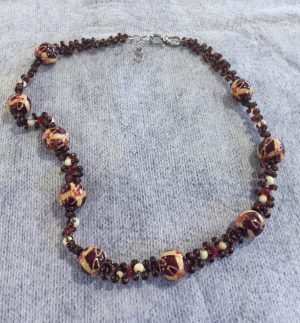 Painted Wood Beads Weave Necklace