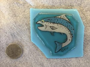Blue Silver Fish painting on glass