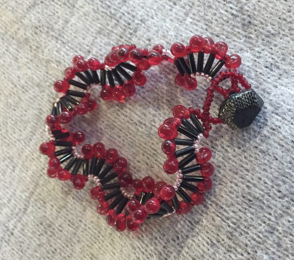 Red border Fence Weave Bracelet