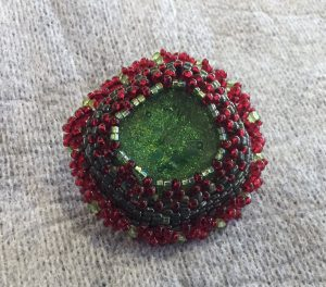 Beaded Green Dichroic Cabochon