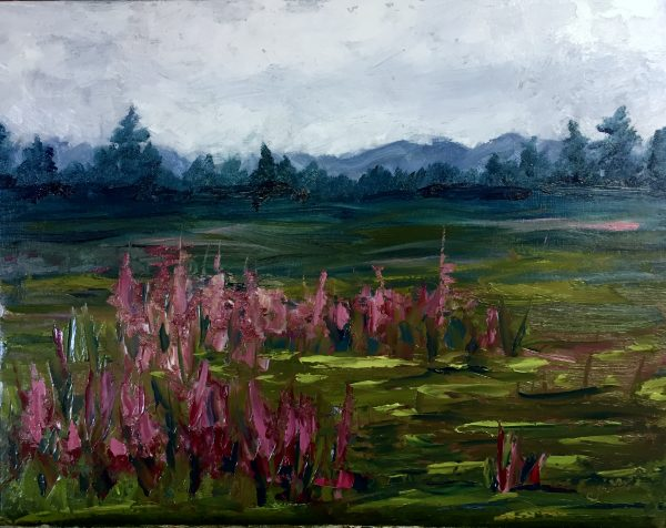 Field of Fireweed oil painting