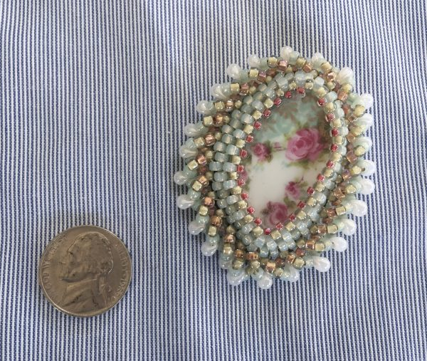 China Rose Plate Beaded Broach