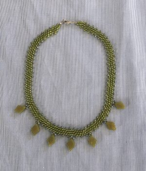 Olive Jade Drop Weave Necklace