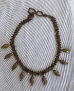 Bronzite Stone Drops Weave Necklace