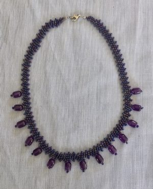 Amethyst Stone Drops Weave Necklace