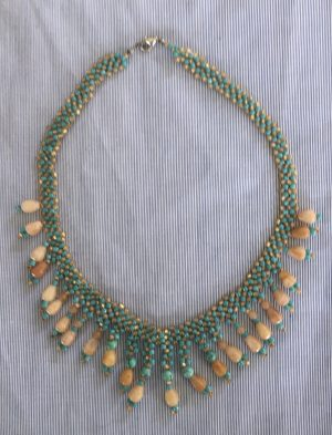 Yellow Orange Agate and Turquoise Weave Necklace