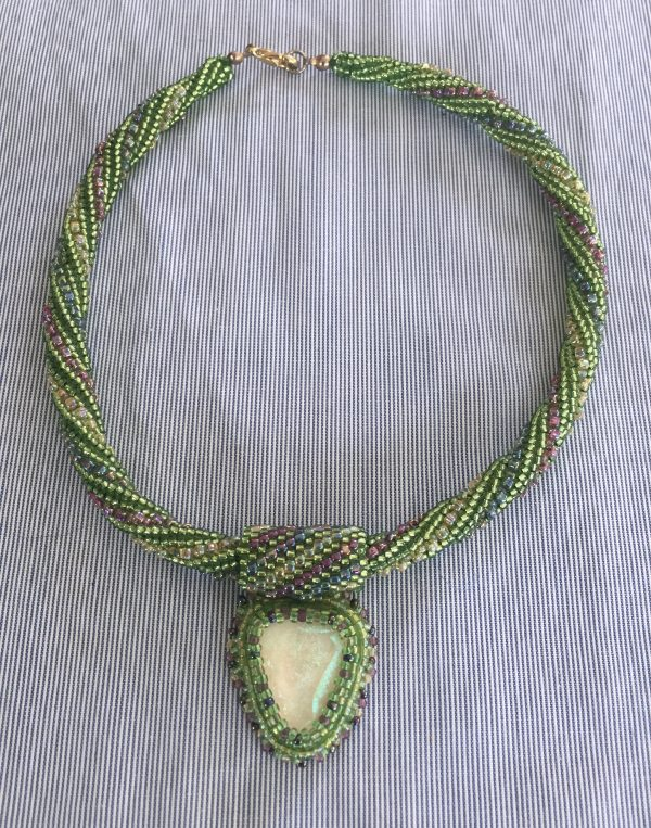Green Twist Weave with Glass Cabochon Choker