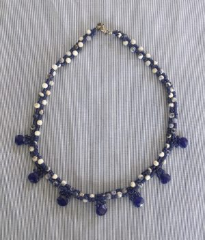 Blue Glass Drops, Weaved Necklace