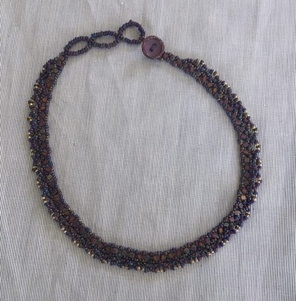 Beaded Purple Beads Weaved Necklace